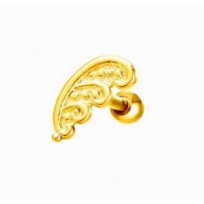 Серьга в ухо стальная желтое покрытие с декоративным узором