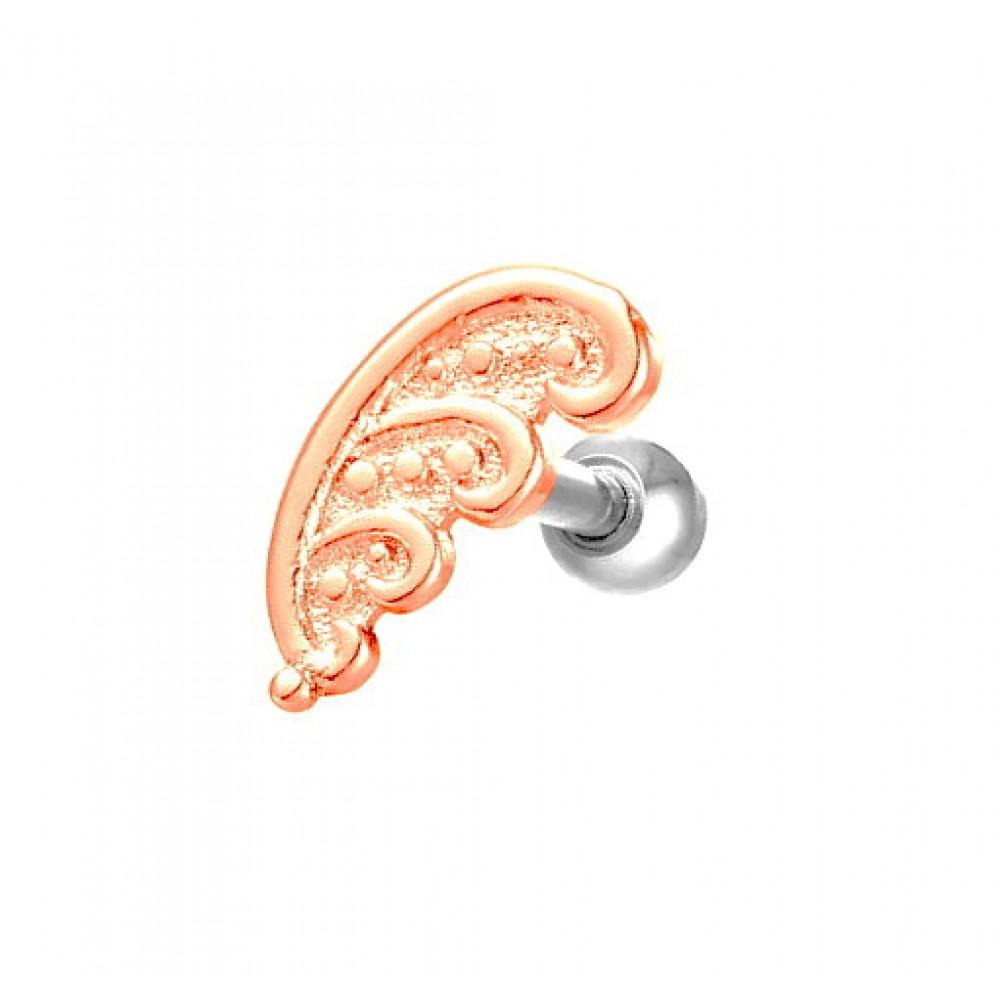 Серьга в ухо стальная с покрытием красное золото декоративные узоры