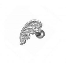 Серьга в ухо стальная с декоративным узором