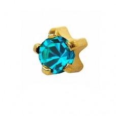 Серьги для прокола ушей голубой цирконий в золотом крапане