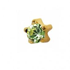 Сережки з позолотою для проколу вуха з прикрасою в кріпленні на лапках хризоліт