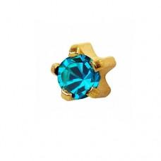 Серьги пуссеты золотые гвоздики с голубым цирконием в крапане