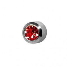 Серьги для прокола ушей рубин в стальной средней завальцовке
