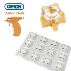 Серьги для прокола ушей цирконий в крапане средний Caflon Gold набор