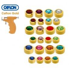Сережки-голки для проколу вух асорті завальцьовані середні і міні Caflon Gold