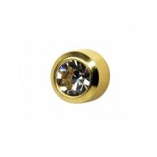 Серьги для прокола позолоченные с круглым украшение черный диамант