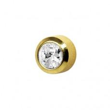 Серьги золотые иголки с кристаллом в средней окаёмке