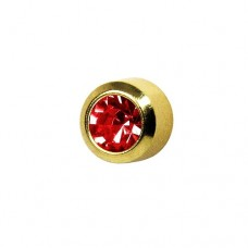 Серьги гвоздики позолоченные для прокола рубин в завальцовке