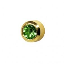 Серьги-гвоздики в позолоченной круглой рамке с хризолитом