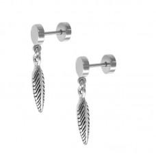 Сережки сталеві міні плаги з підвіскою перо