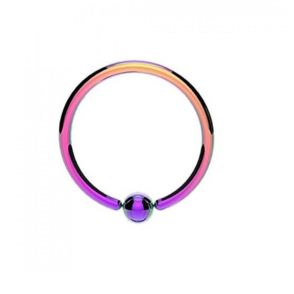 Пирсинг кольцо с зажатым шариком стальное анодированное