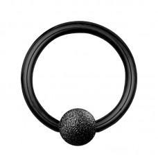 Кольцо разжимное для пирсинга черное с напылением на шарике