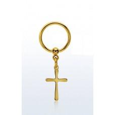 Кольцо разжимное позолоченное для пирсинга уха с крестиком