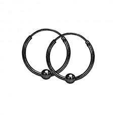 Серьги кольца стальные черные с подвижной бусинкой