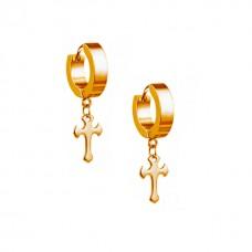 Сережки кільця з хрестиком золочені під червоне золото