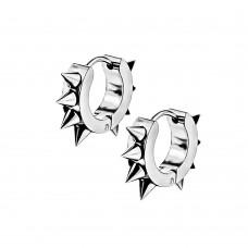 Сережки кільця зі сталі з шипами по контуру