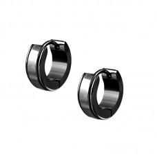 Сережки кільця чорні конго з заглибленнями по краях