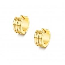 Серьги кольца стальные широкие ребристые с позолотой