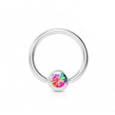 Кольцо с шариком для пирсинга мультицветный фианит
