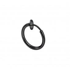 Кольцо для пирсинга обманка стальная с черным покрытием
