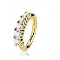 Пирсинг кольцо разгибающееся с цирконами анодированное