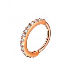 Кольцо для пирсинга с разгибом и фианитами по кругу красное золото