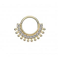 Кольцо на изгиб позолоченное с яркими фианитами и шариками