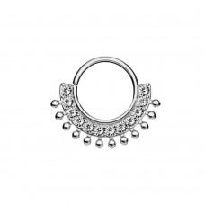 Кольцо на изгиб с яркими фианитами и шариками по окружности