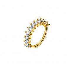 Серьга кольцо позолоченная медная дополненная фианитами