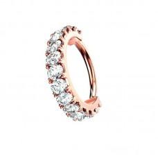 Кольцо медное разгибающееся 10 мм с фианитами красное золото