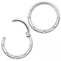 Пирсинг кольцо титановое с замком и фианитами