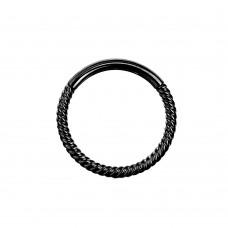 Черное кольцо-кликер открывающееся плетеное стальное анодированное