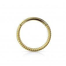 Кольцо-серьга позолоченная жгут открывающееся плетеное