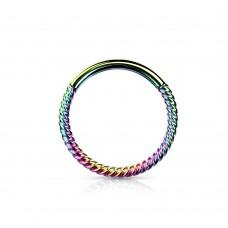 Серьга-кольцо анодированное орбитальное открывающееся плетеное