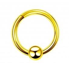 Кольцо позолоченное открывающееся с шариком