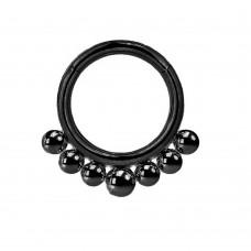 Кольцо-кликер стальное черное с шариками на основании
