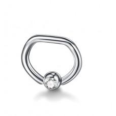 Кольцо из титана необычной формы с фианитом