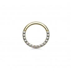 Кольцо титановое в позолоте 6 мм с кристаллами Swarovski