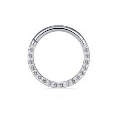 Титановое ультратонкое кольцо кликер украшенное изящными кристаллами