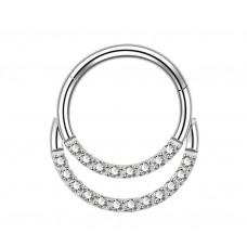 Кільце клікер титанове з кристалами по контуру для дейс пірсингу