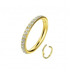 Изящное титановое литое кольцо кликер дополнено кристаллами Swarovski