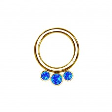 Кольцо титановое позолоченное с  кластером три синих опала