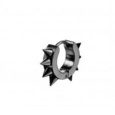Серьга-кольцо стальное черное с шипами Мужское