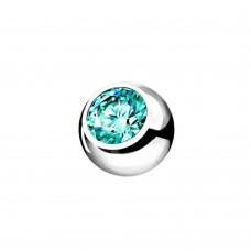 Змінний кулька сталевий з фианитом блакитний цирконій в оправі