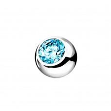 Сменный шарик стальной с голубым фианитом аквамарин в оправе