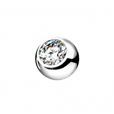 Сменный шарик стальной с белым фианитом в оправе