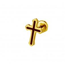 Серьга-гвоздик стальной с покрытием Крест унисекс