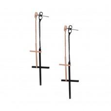 Серьги гвоздики с двойной подвеской кресты на цепочке