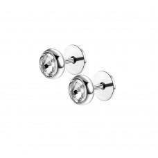Серьги в уши на микроштанге с диском и белым кристаллом