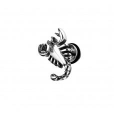 Серьга мужская одиночная стальной Скорпион